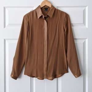 Club Monaco Golden Camel Silk Blouse Top | XS